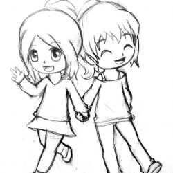 Girl And Boy Holding Hands Drawing