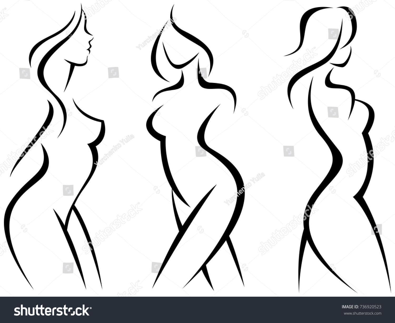 1500x1227 Set Of Stylized Silhouettes Woman Bodystock Vector Illustration
