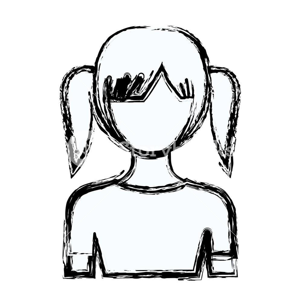 1000x1000 Blurred Silhouette Faceless Half Body Girl With Pair Pigtails