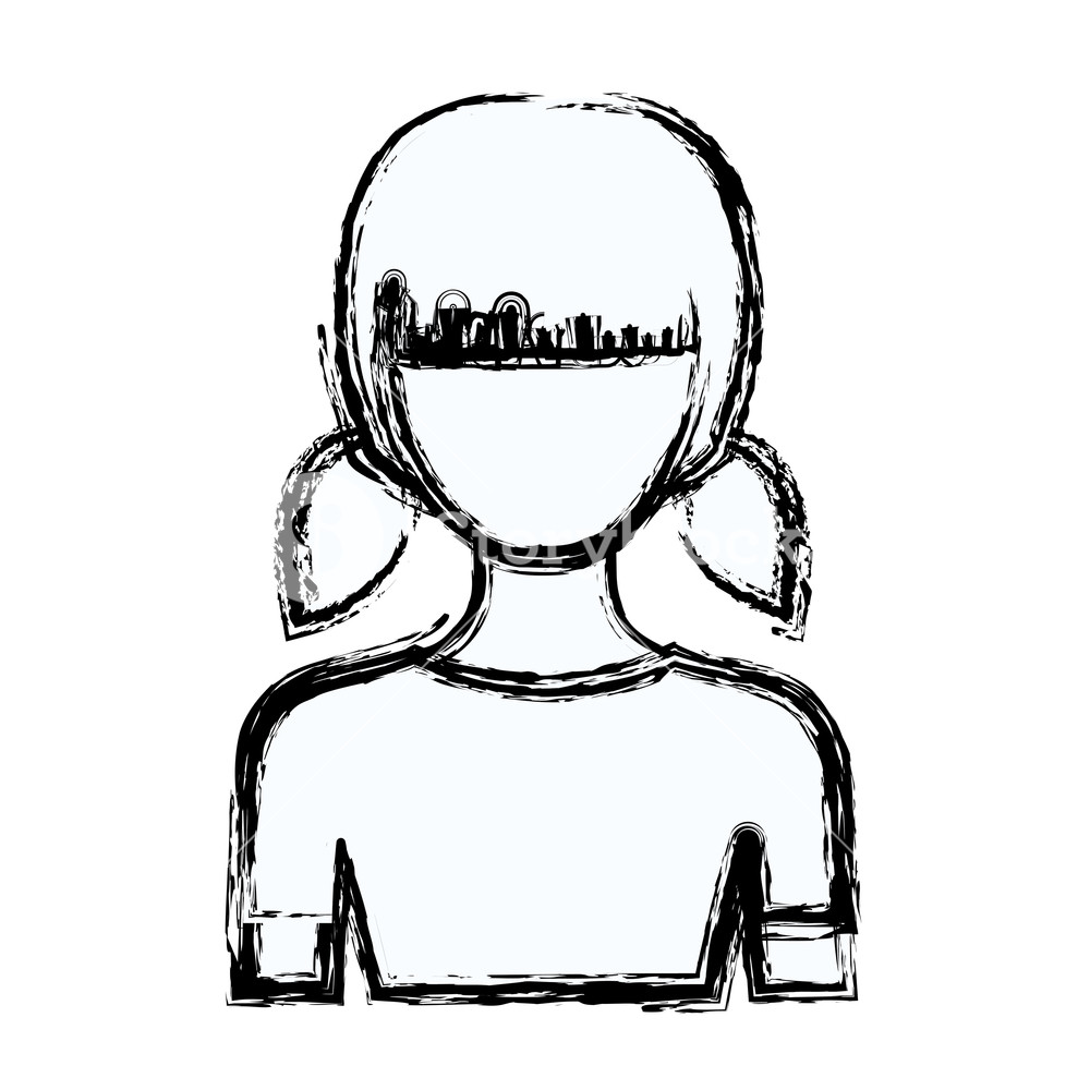 1000x1000 Blurred Silhouette Faceless Half Body Girl With Pigtails Hairstyle