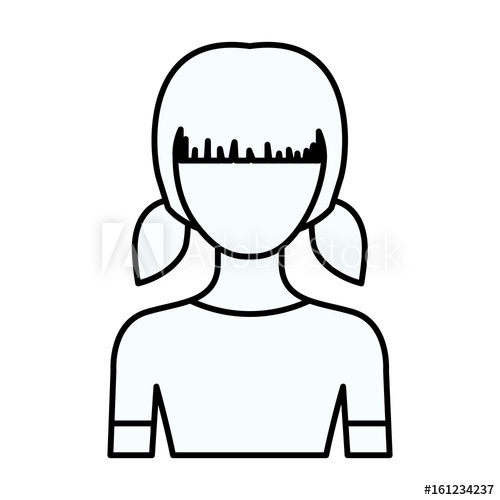 500x500 Sketch Silhouette Of Faceless Half Body Girl With Pigtails