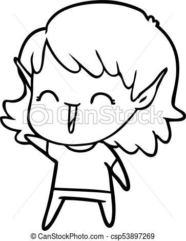 363x470 Cartoon Elf Girl Clip Art Vector