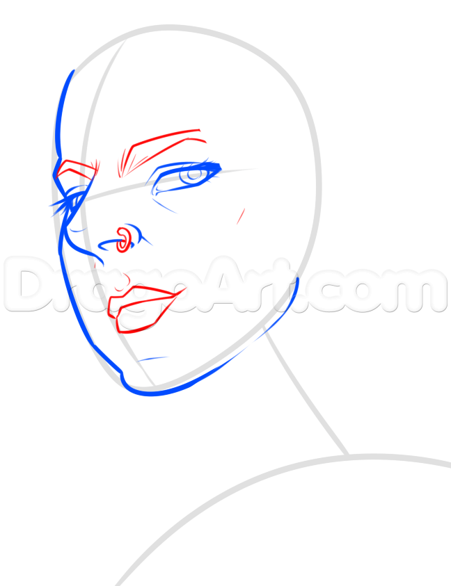 648x843 Draw A Comic Girl Face, Step