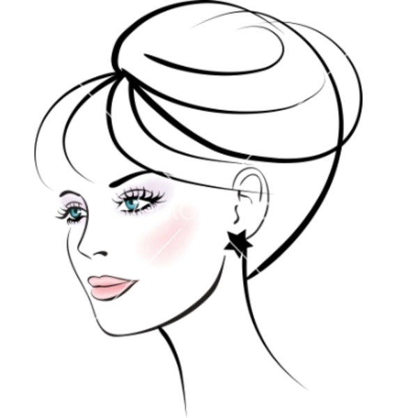 570x600 Girl Face Drawing Clipart
