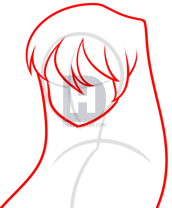 595x720 How To Draw An Anime Girl Face, Step