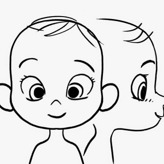 336x336 Baby Girl Face Drawing Outline Funny Simple Line Cartoon Iydunetwork