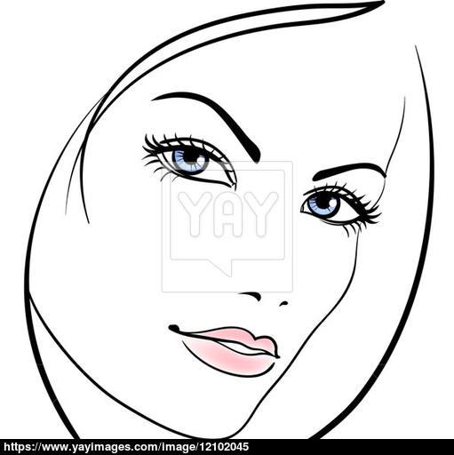 511x512 Beauty Girl Face Vector Icon Image