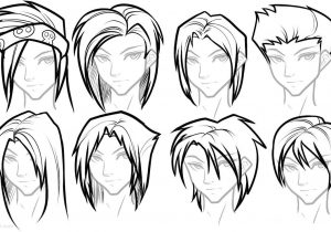 300x210 drawing anime hairstyles anime hair sketches anime girl hair