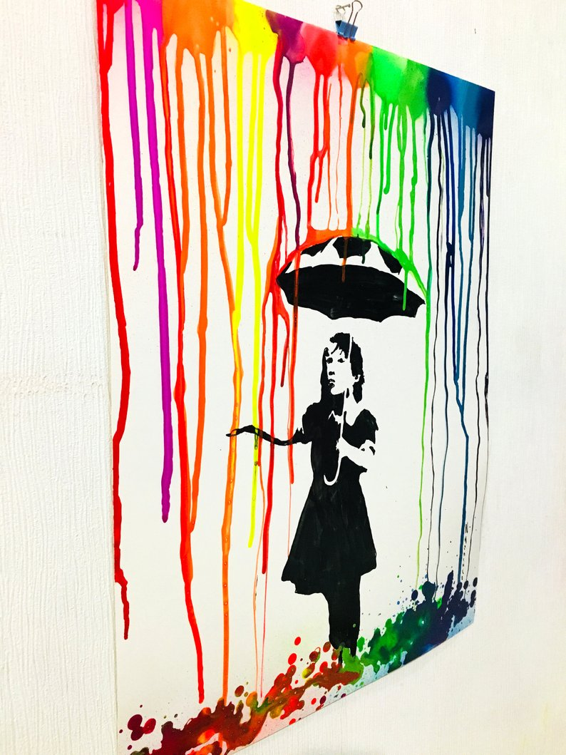 794x1059 colorful rain painting colorful painting colorful decor girl etsy