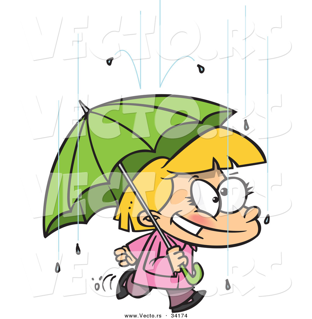 1024x1044 vector of a happy cartoon girl quickly walking under an umbrella