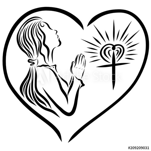 500x500 a girl praying to god, and a radiant cross, god's love protects