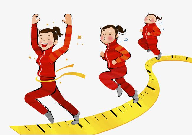 650x458 a girl running on a ruler, ruler clipart, cartoon hand drawing