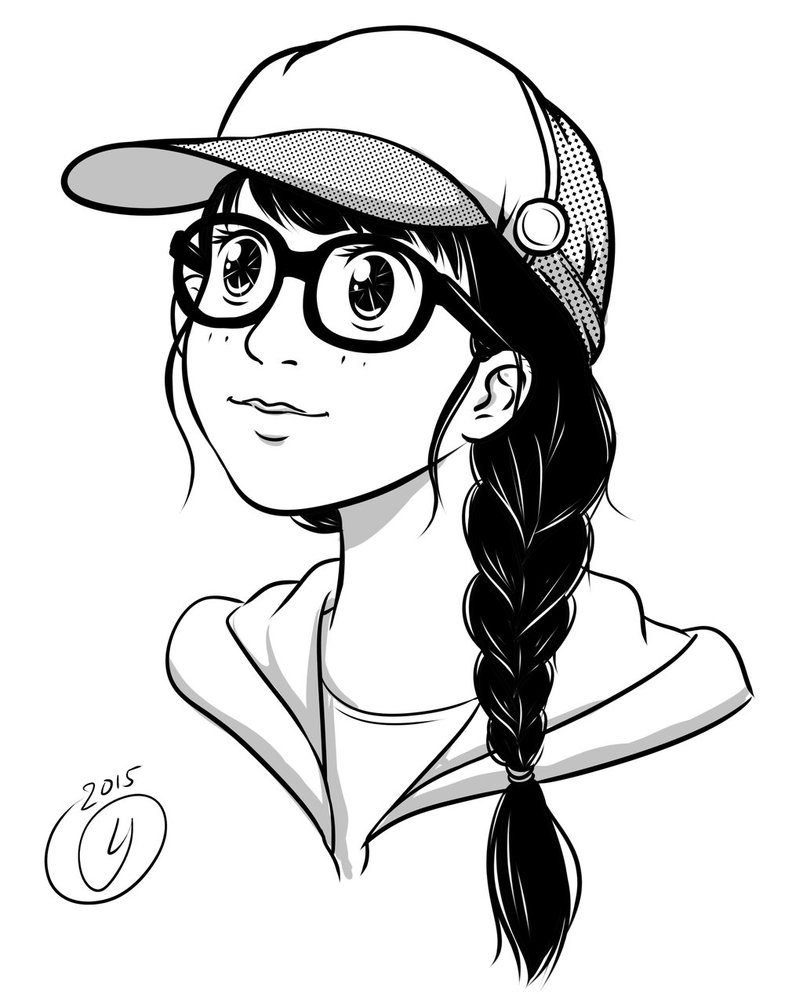 Nerd Cute Anime Girl With Glasses Drawing