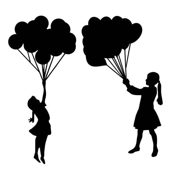 601x601 Collection Of 'girl Holding Balloon Silhouette' Download More