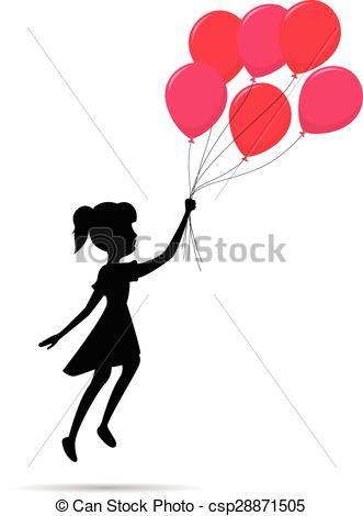 331x470 fly girl silhouette with balloon fly girl silhouette with red