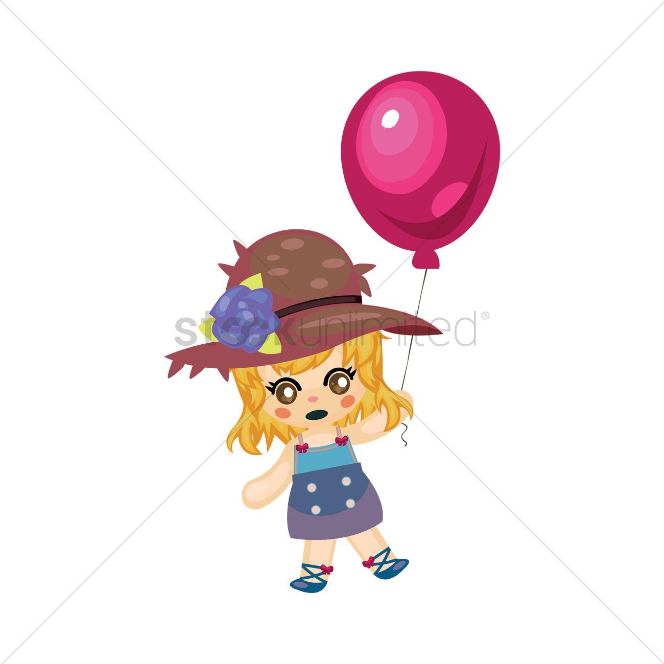 1300x1300 Girl Holding Balloon Vector Image