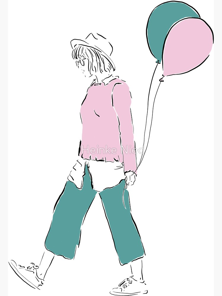 750x1000 Girl With Balloons, Fashion Illustration Sticker