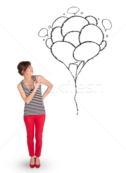 437x600 Happy Woman Holding Balloons Drawing Stock Photo Rancz Andrei