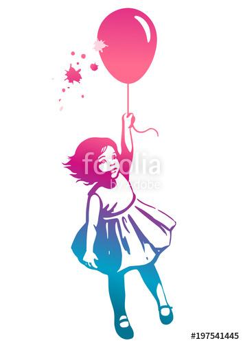 354x500 Little Girl Floating Ion Red Balloon Street Art Graffiti Style