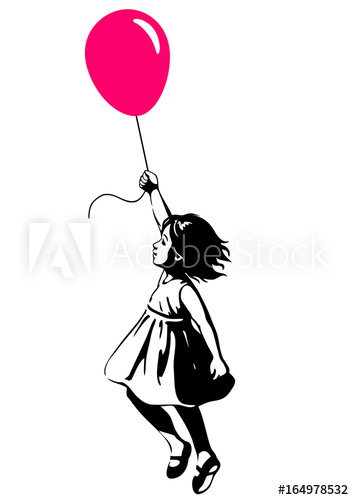 354x500 Little Girl Floating With A Red Balloon, Street Art Graffiti Style