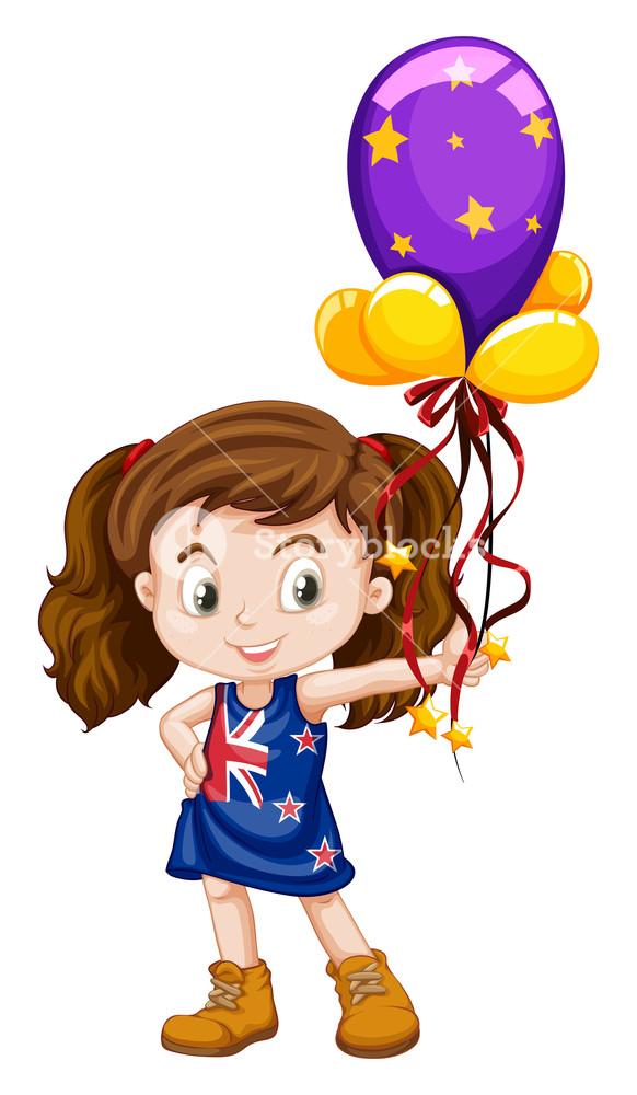 582x1000 Little Girl Holding Fancy Balloons Illustration Royalty Free Stock