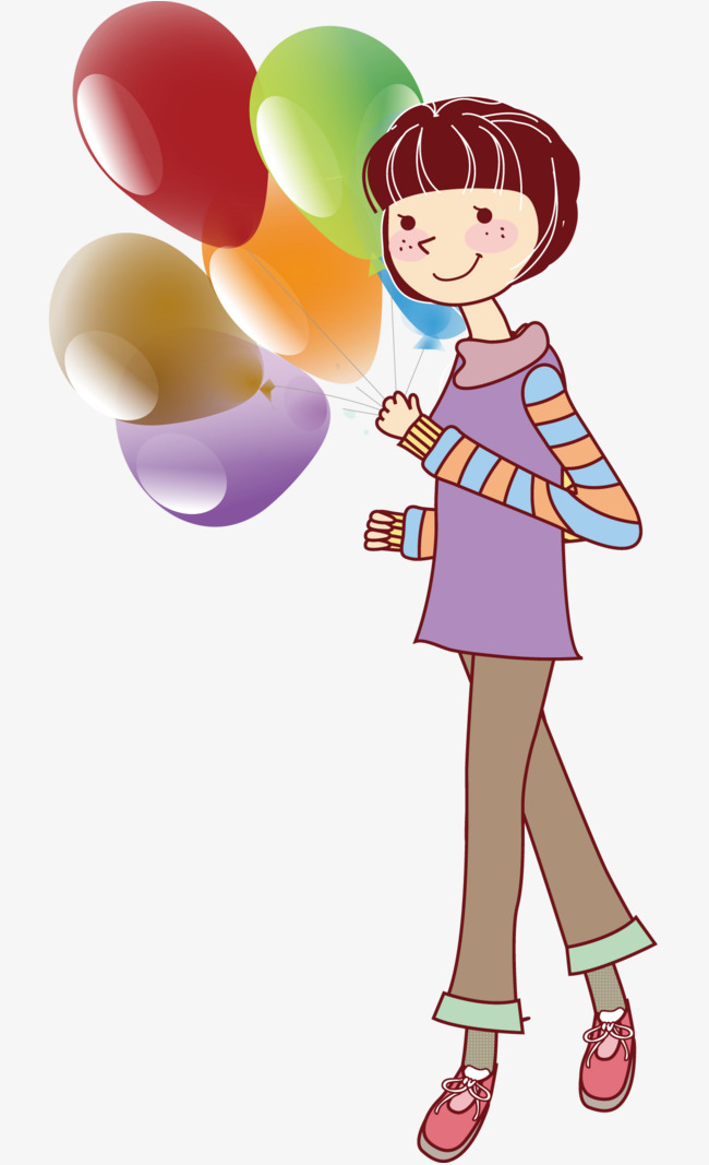 650x1067 The Little Girl With The Balloon, Cartoon Hand Drawing, Vector