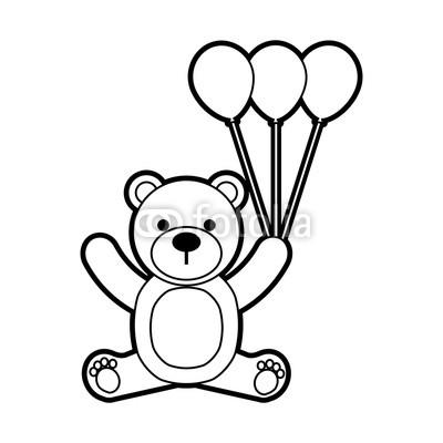 400x400 Baby Shower Teddy Girl And Balloon Cute Animal Vector Illustration