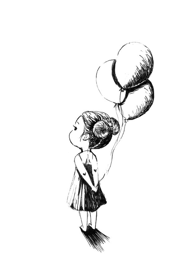 600x900 easy girly paintings canvas girl with balloons doodle doodle