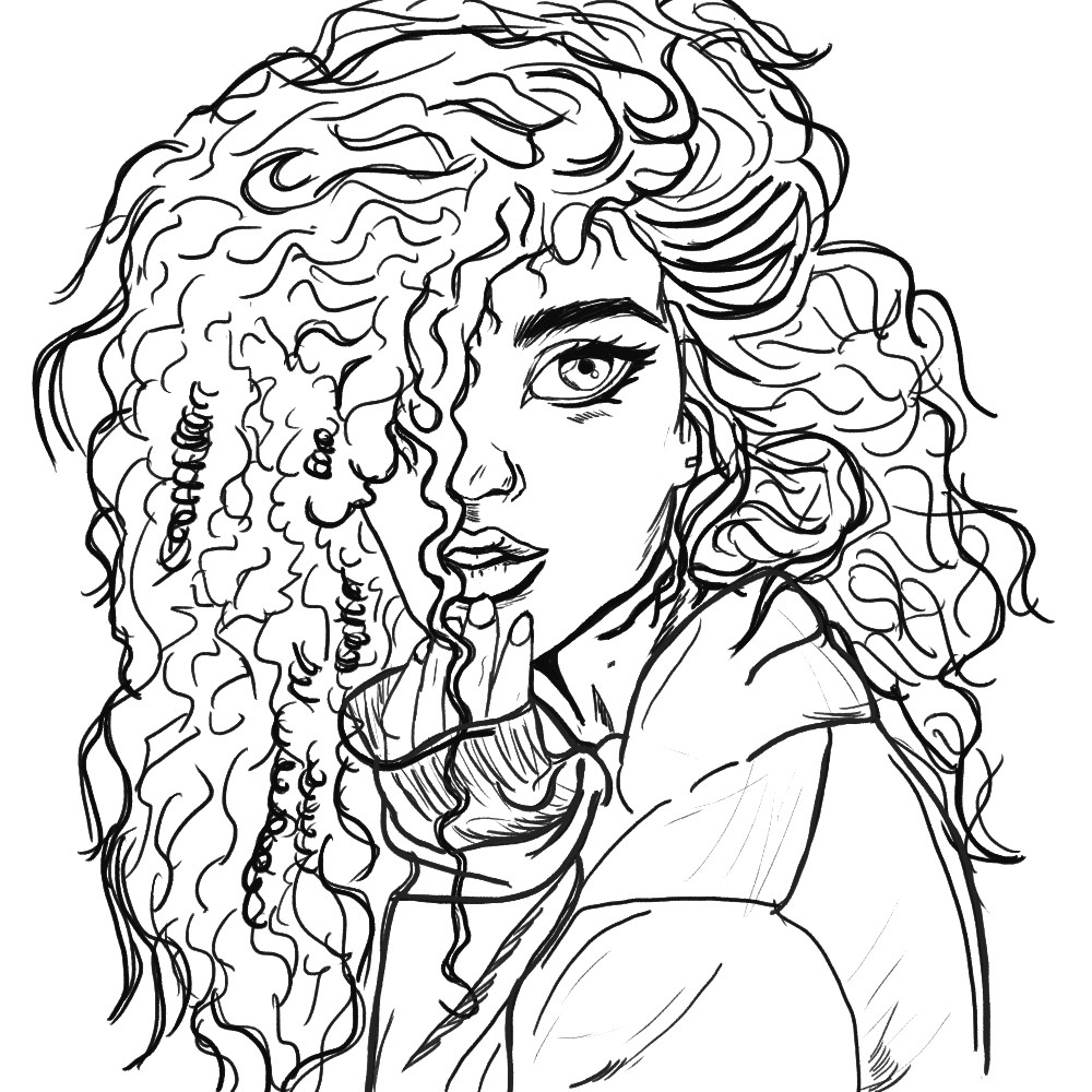 Girl With Curly Hair Drawing Free Download Best Girl