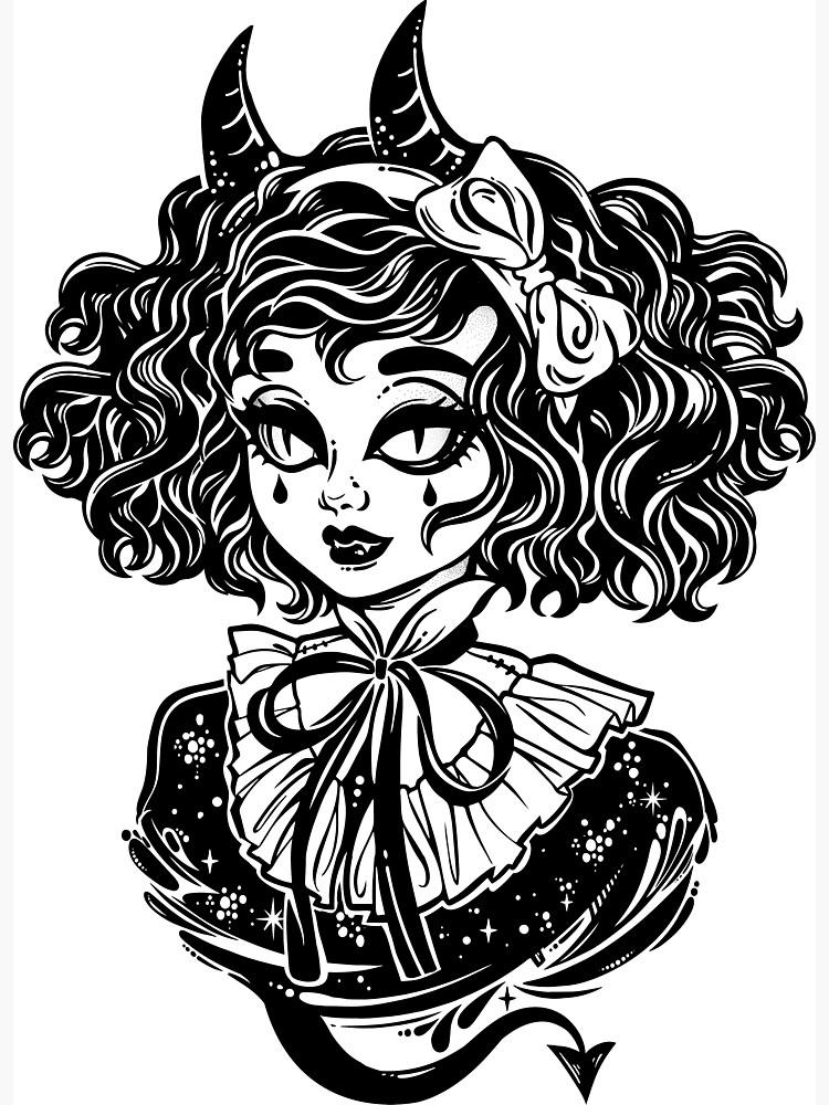 750x1000 Gothic Victorian Demonic Girl Head Portrait With Imp Horns