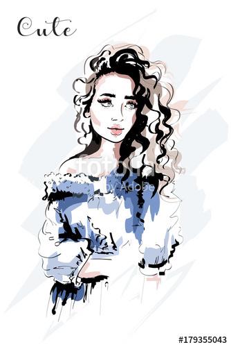 334x500 Hand Drawn Beautiful Young Woman Portrait Fashion Woman