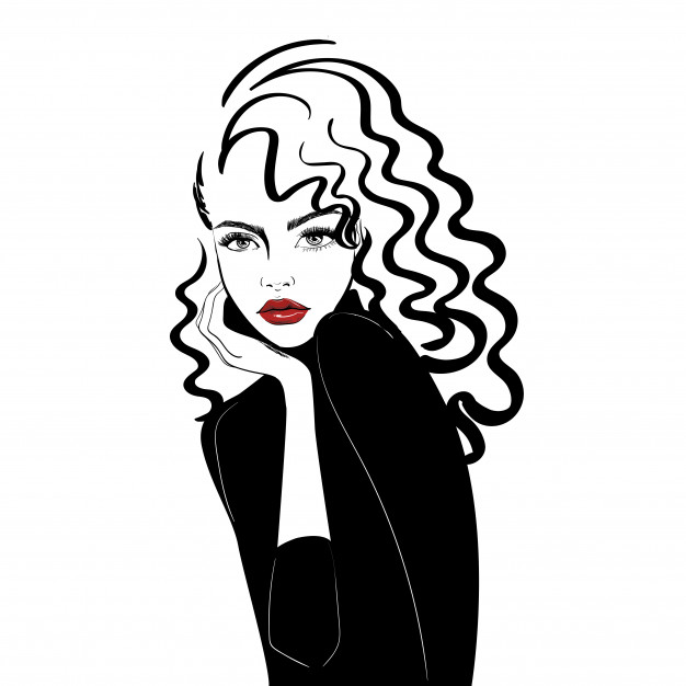 626x626 Portrait Of Woman With Long Curly Hair Vector Premium Download