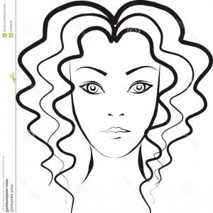 300x300 A Girl With Long And Curly Hair Clipart Catchsplace