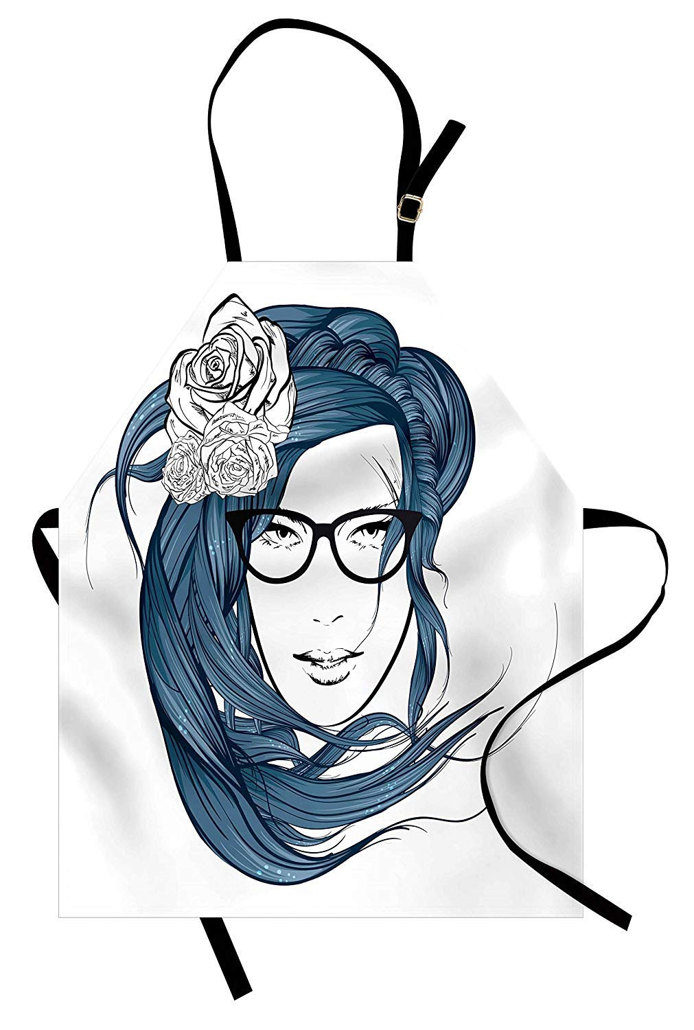 1011x1500 Curly Hair Apron Girl With The Blue Hair And Flowers