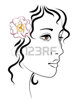 247x350 woman face profile young dark haired woman with a flower in her