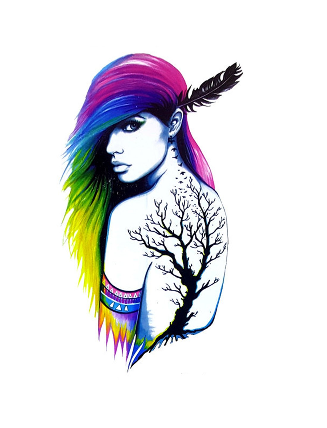 1100x1440 temporary tattoo for girls men women beautiful long hair women