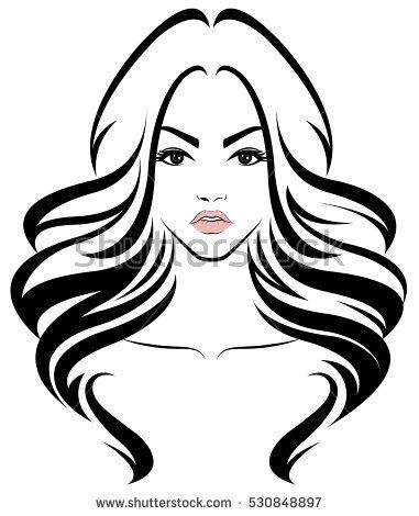 381x470 illustration of women long hair style icon, logo women face