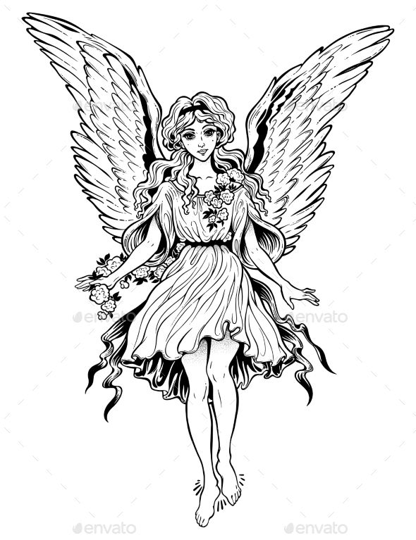 590x767 Beautiful Angel Vintage Style Flying Magic Girl With Long Hair