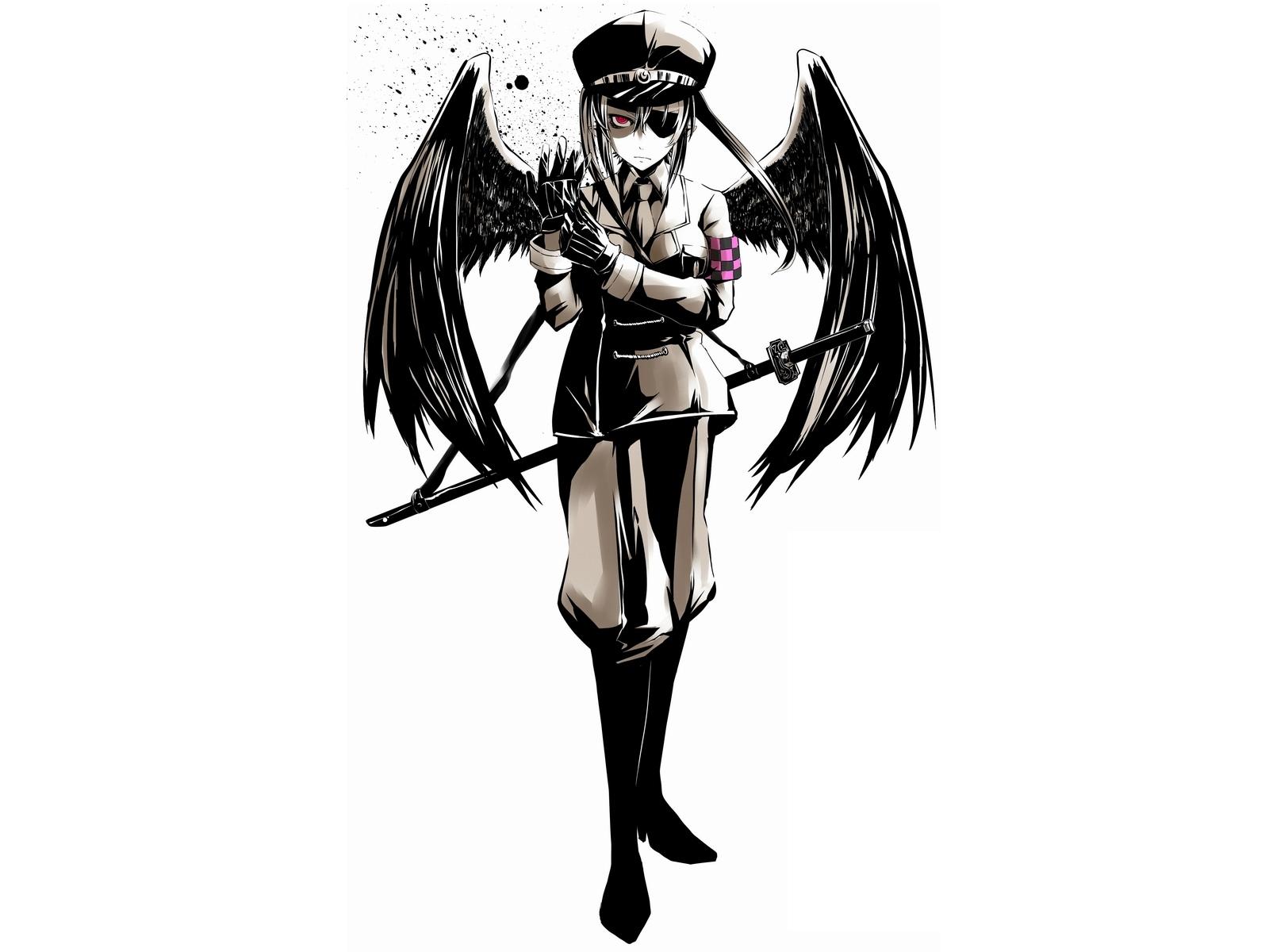 1600x1200 Download Wallpaper Girl, Eyes, Wings, Gloves, Cap Hd
