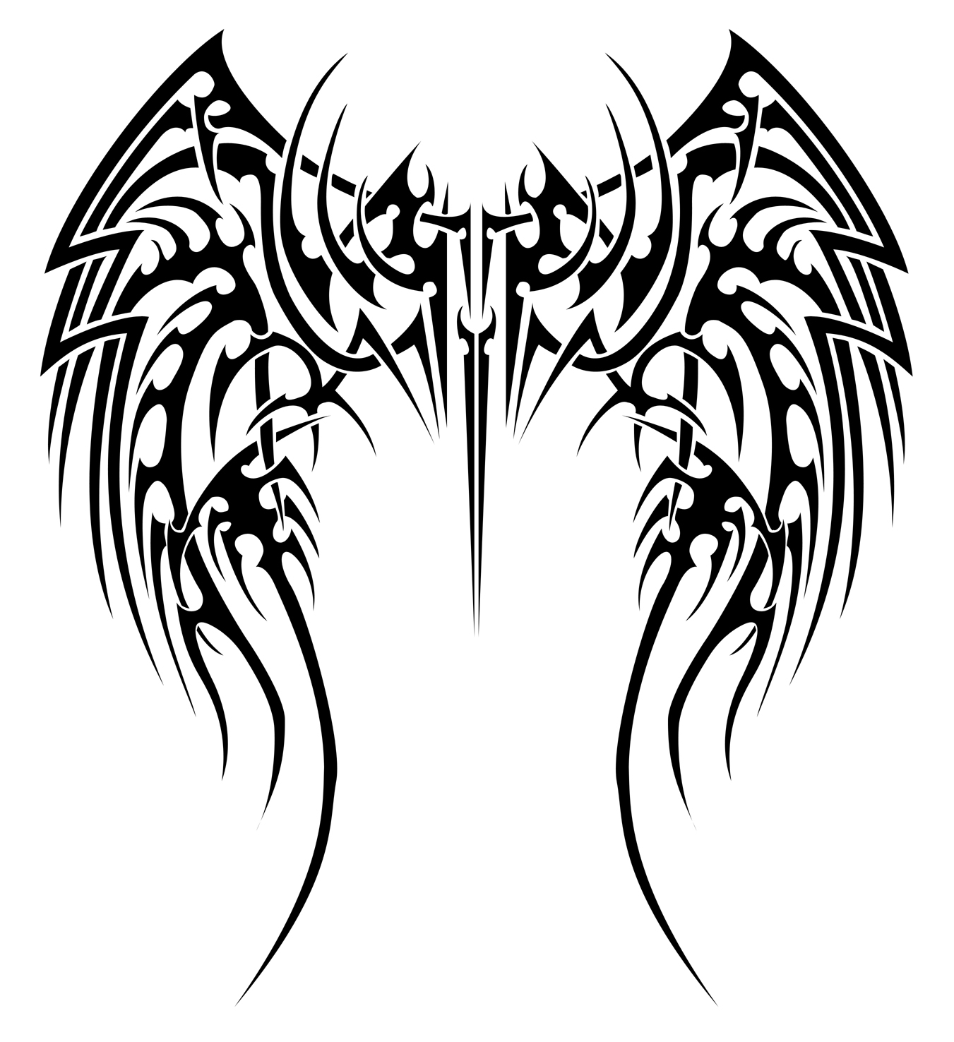 1351x1476 Wings Drawing Tribal For Free Download