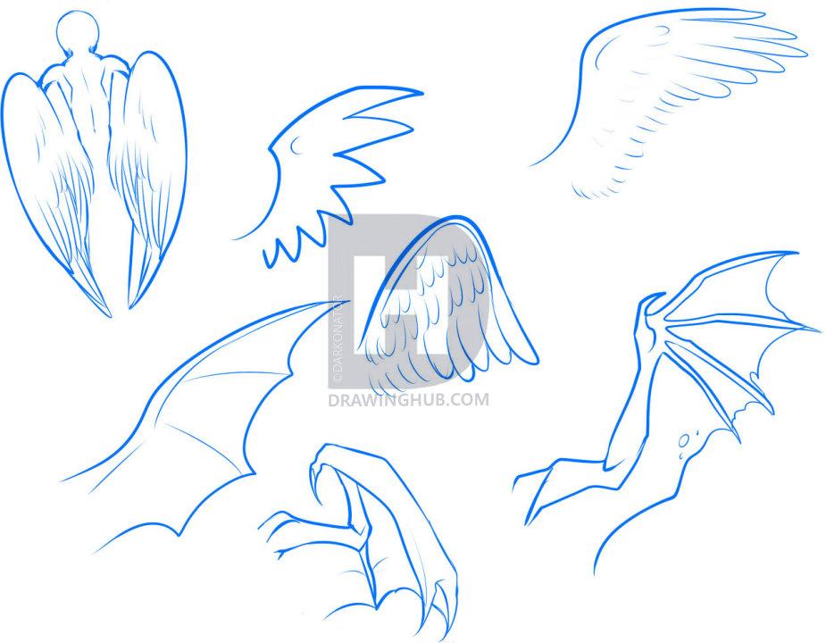 925x720 How To Draw Anime Wings, Draw An Anime Angel, Step