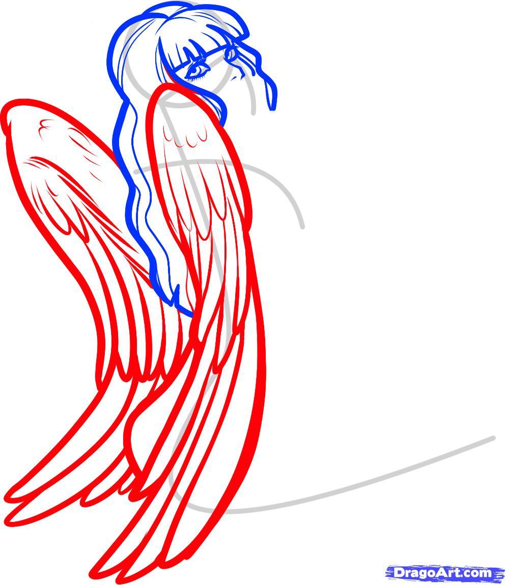 994x1150 How To Draw An Angel Girl, Angel Girl, Step
