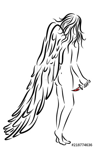 318x500 Woman With Angel Wings And Bloody Knife On White Background
