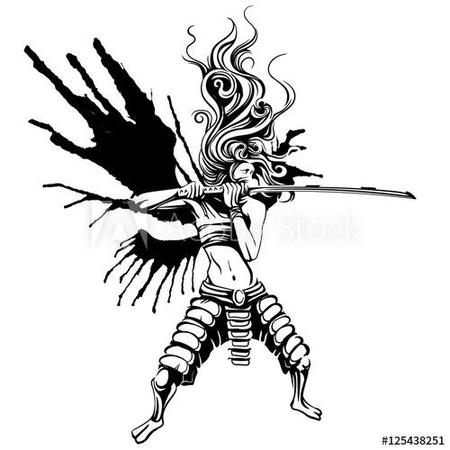 500x500 Girl Samurai With Wings