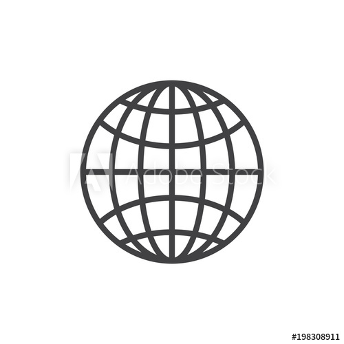 500x500 Earth Grid Outline Icon Linear Style Sign For Mobile Concept