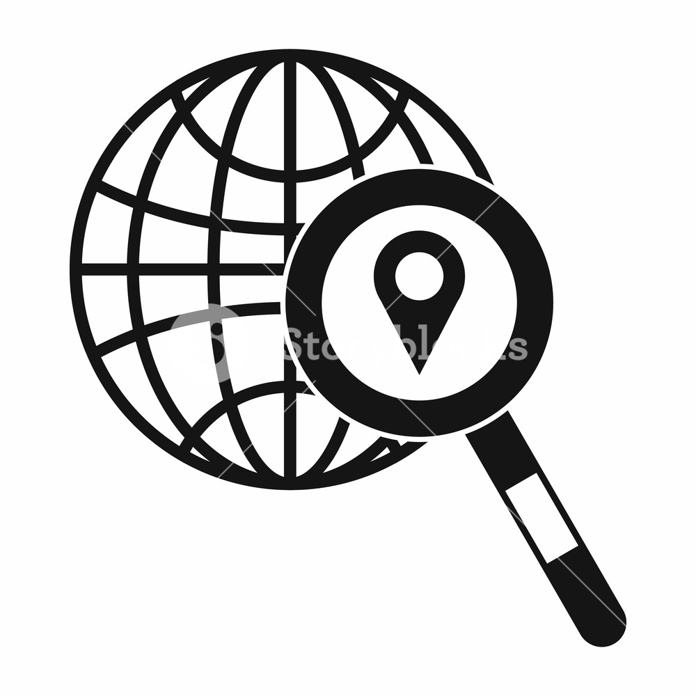 1000x1000 Globe, Map Pointer And Magnifying Glass Icon In Simple Style