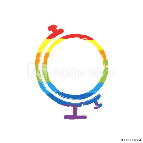 500x500 Simple Globe Linear Icon, Thin Outline Drawing Sign With Lgbt