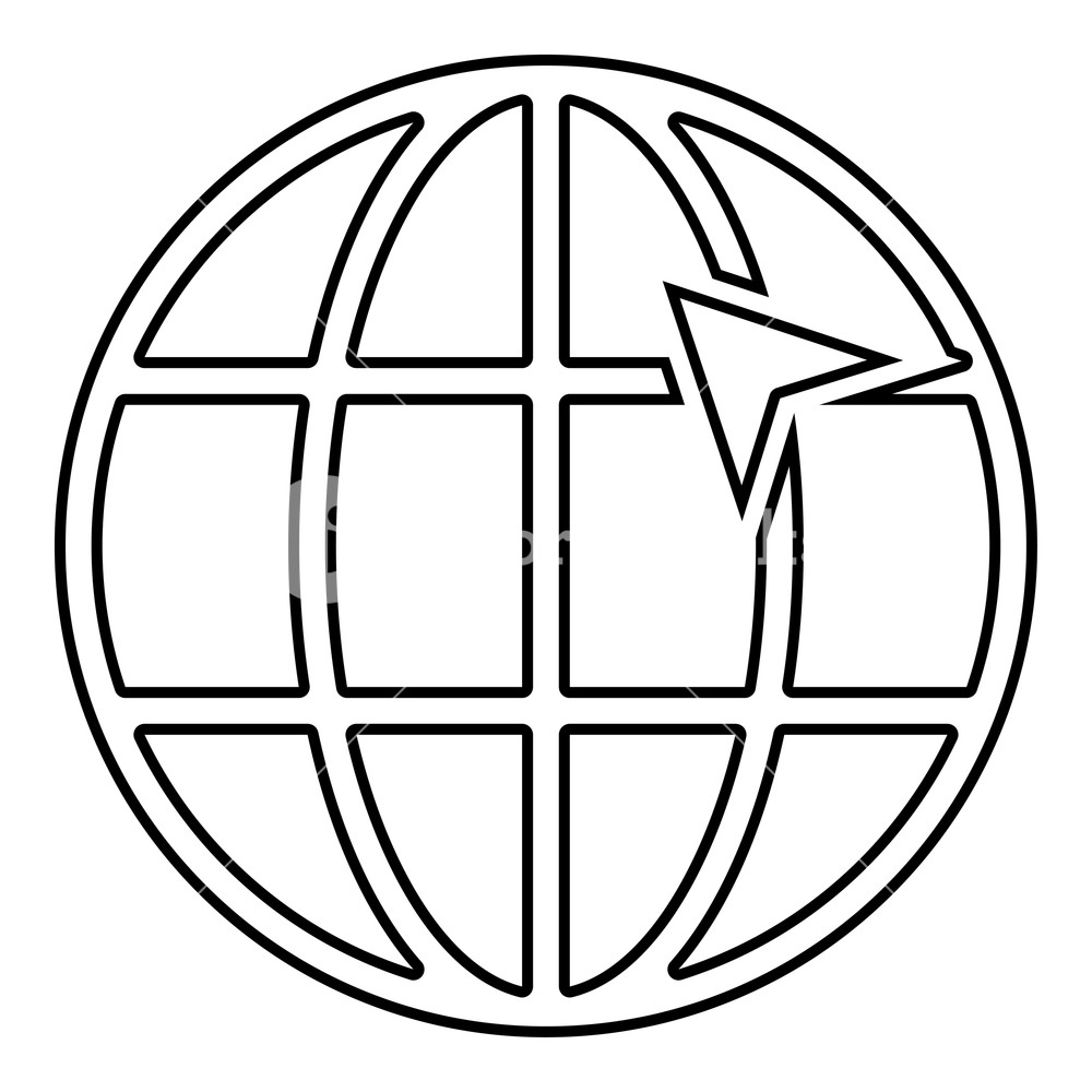 1000x1000 Arrow On Earth Grid Globe Internernet Concept Click Arrow