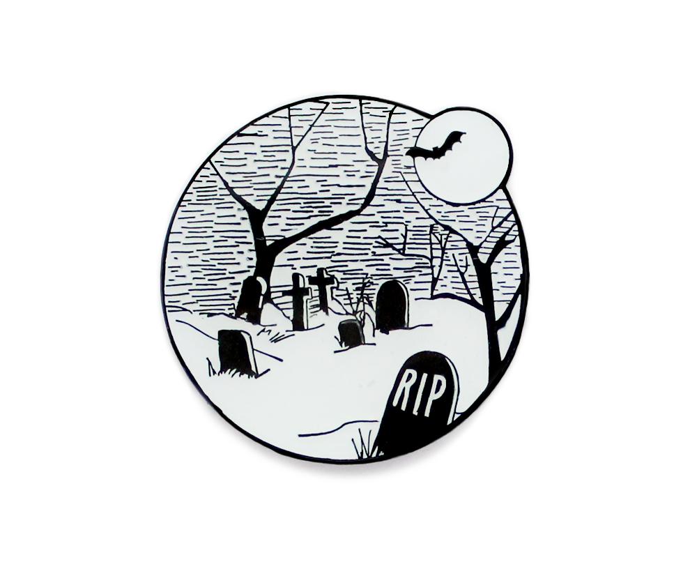 1000x806 Glow In The Dark Halloween Graveyard Enamel Lapel Pin Pins