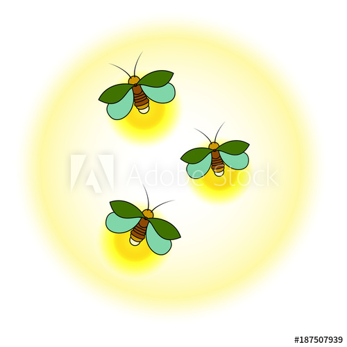 500x500 Three Green Fireflies With A Yellow Glow A Simple Stylized